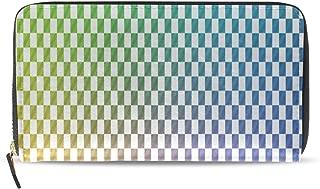 Custom Wallets For Women Checkerboard Multicolor Reflection Long Passport Clutch Purses Zipper Wallet Case Handbag Money Bag For Lady Women Girl Girls Wallet