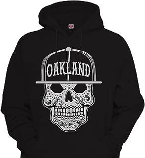 CaliDesign Mens Mexican Sugar Skull Hoodie Urbanwear Street wear Sweatshirt Black/White Oakland Aztec