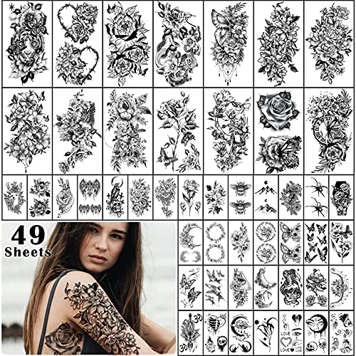 49 Sheets Large Flower Temporary Tattoo Butterfly Bee Crescent Moon Half Arm Tattoos for Women Fake Tattoos That Look Real and Last Long Rose 3D Tattoo Stickers Waterproof Semi Permanent Tattoo