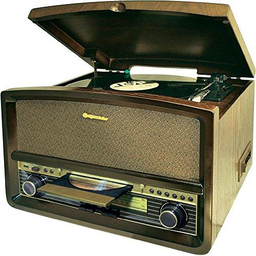 Roadstar HIF-1937TUMPK Retro Design Anlage (Plattenspieler, UKW/MW Radio, CD, Kasettenspieler, MP3, USB) Holz