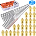 SIQUK 24 Pcs 3D Printer Nozzles MK8 Nozzles 0.2mm, 0.3mm, 0.4mm, 0.5mm, 0.6mm, 0.8mm, 1.0mm with 16 Pcs Cleaning Needles 0.15mm, 0.25mm, 0.35mm, 0.4mm, 0.5mm for 3D Printer Makerbot Creality CR-10