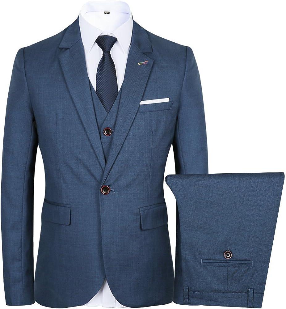 JYDress Mens Suit 3 Piece Suit One Button Single-Breasted Notch-Lapel Slim Fit Tux