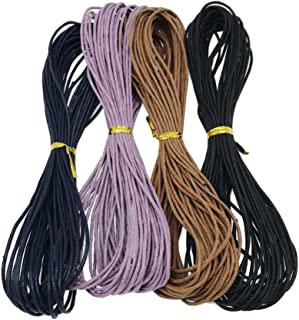 Baoblaze 4 Colors 1.5mm Waxed Cotton Cord Cotton Cord String Threads Thread Cords Wax Cotton Cord for Jewelry Making Craft(Each Color 10m/11 Yards)