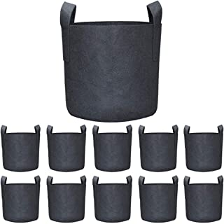 Permotary 10 Pack 1 Gallon Grow Bags for Plant Flower Vegetable Fruit Seedling Grow Bags,Thichkened Non-Woven Aeration Fab...