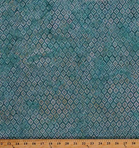 Cotton Batik Tribal Diamond Print Southwestern Native American Aztec Turquoise Cotton Fabric Print by The Yard (D307.50)