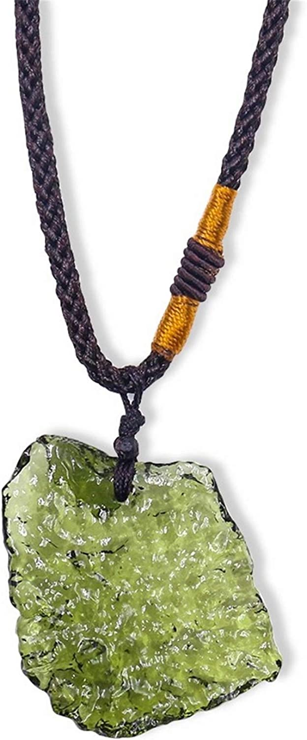 Moldavite Crystal Necklace, Irregular Stone Pendant Natural Crystal Energy Stone with Rope, Green Gem Meteorite Pendant Jewelry for Men and Women