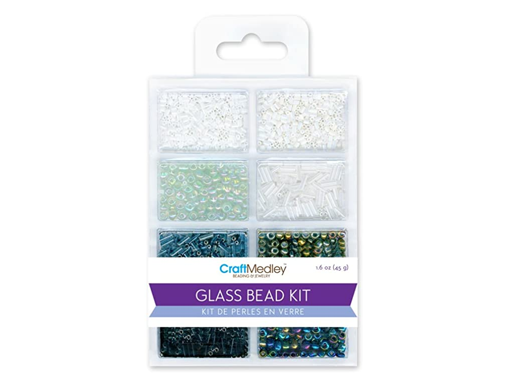 Multicraft Imports Glass Bead Kit, 45g, Rocailles/Seed/Bugles, Black & White Classic