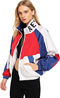 SweatyRocks Women's Lightweight Windbreaker Patchwork Zipper Sport Jacket Coat Outerwear
