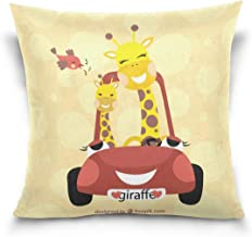 "MASSIKOA Catoon Giraffe Family Decorative Throw Pillow Case Square Cushion Cover 18"" x 18"" for Couch, Bed, Sofa or Patio -..."