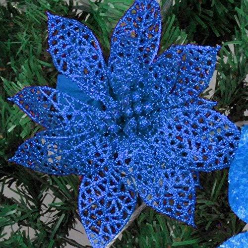 WHANG 10 PCS 15cm Simulation Hohle Künstliche Blumen-Kinder-Geburtstags-Party-Dekoration des neuen Jahres Weihnachtsdekor (rot). (Color : Blue)
