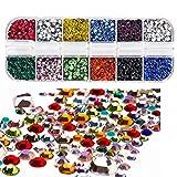 Peirich Hotfix Flatback strass in vetro, pietre Hot Stones ferro su colla vetro piatto piatto Back gemme AB 4800 pezzi 12 colori 3 dimensioni 2-4 mm (SS6-SS16) in scatola