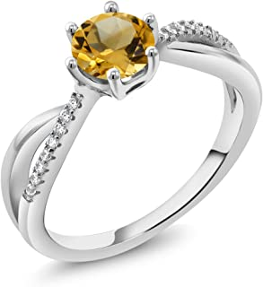 Yellow Citrine 925 Sterling Silver Women's Infinity Ring (0.89 Cttw Round Gemstone Birthstone Available 5,6,7,8,9)