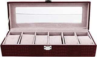 Lovoski Vintage Watch Display Case - Jewelry Bracelet Storage Organiser Box for Valentine Day, Birthday, Christmas - Coffee, as described