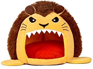 DZT1968 Super Soft Cartoon Lion Design Cat Bed Kennel, Fills Extra Thick 100% Filler -Comes with Soft & Comfortable Mat -Doghouse