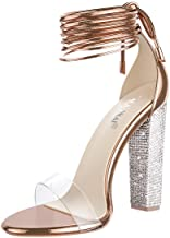 LALA IKAI Women's Gold High Heels Sandals with Rhinestone Ankle Strappy Clear Chunky Heels Dress Party Pumps Shoes