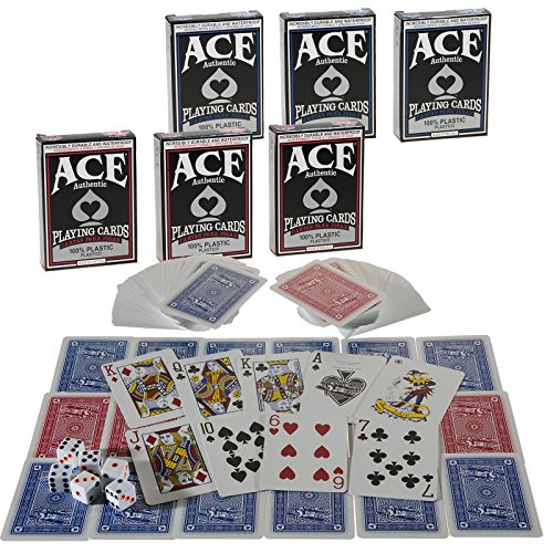 Ace All Plastic Playing Cards, Bundle of 6 Decks, with 6 Color Dot White Dice