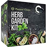 Planters' Choice Organic Herb Growing Kit + Herb Grinder - Complete Kit to Easily Grow 4 Herbs from...