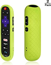 [2-Pack] AKWOX Replacement TCL Roku RC280 Remote Case - Light Weight [Anti Slip] Silicone Shockproof Protective Cover Case for Roku 3600R / TCL Roku RC280 TV Remote with Lanyard (Green)