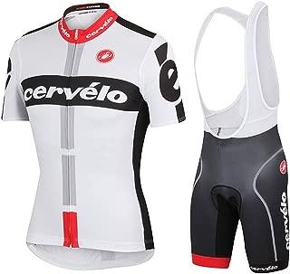 UONO Mens Short Sleeves Team Cycling Jersey Jacket Bicycle Bike Shirt Cycling Padded Bib Shorts Set