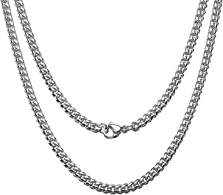 Jewelry Kingdom 1 Cuban Link Chain Necklace for Men and Women, 4MM Miami Curb Chain, Polishing Silver Stainless Steel Curb...