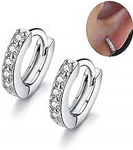 MSECVOI Sterling Silver Cubic Zirconia Cuff Earrings Small Hoop Huggie Earrings Stud 12mm for Women