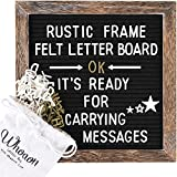 Rustic Wood Frame Black Felt Letter Board 10x10 inches. Pre-Cut White & Gold Letters, Symbols, Emojis, Simple...