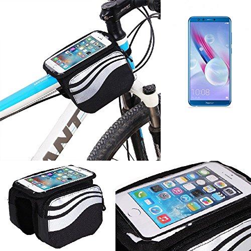 K-S-Trade Bolso Funda Bicicleta para Huawei Honor 9 Lite, Teléfono Móvil Funda Móvil Soporte Tubo Bici Ciclismo, Negro Y Plata, Impermeable Resistente Al Agua