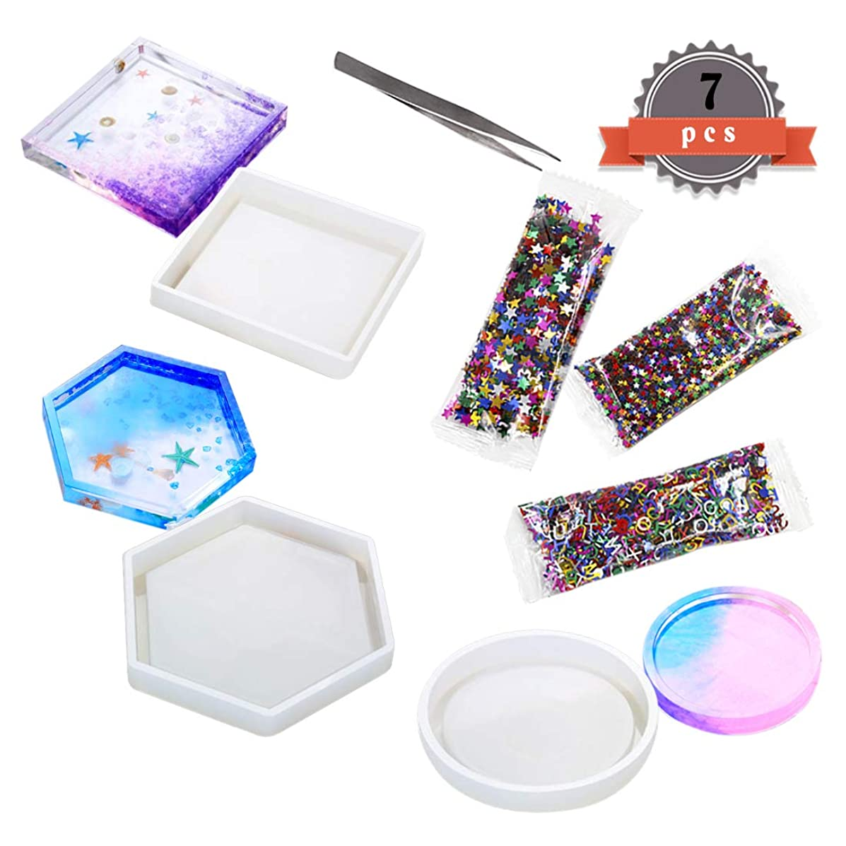 FineInno 3pcs Silicone Molds Epoxy Resin Molds Resin Casting Molds Include Round, Square, Hexagon for Coasters, Free Sequins Shiny (Hexagon/Square/Round)