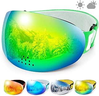 COPOZZ Ski Snowboard Goggles, P1 OTG Snow Sports Skiing Goggles for Men Women Youth, UV Protection Anti Fog Magnetic Snowmobile Goggles