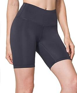 TSLA Women's Active Bike Running Yoga Shorts Side/Hidden Pocket Series, Yogabasic Aerisupport 7in(fgs17) - Charcoal, Mediu...