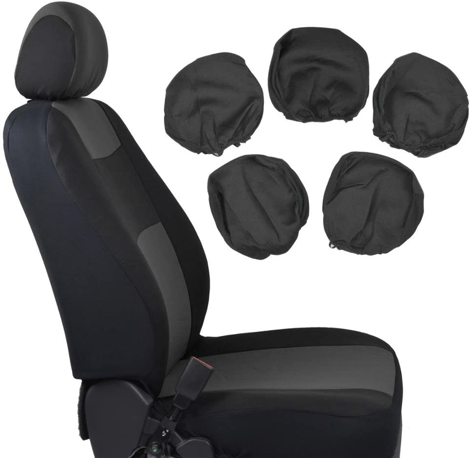 BDK PolyPro Car Seat Covers, Full Set in Charcoal on Black – Front and Rear Split Bench Protection, Easy to Install, Fit for Auto Truck Van SUV, Charcoal Gray