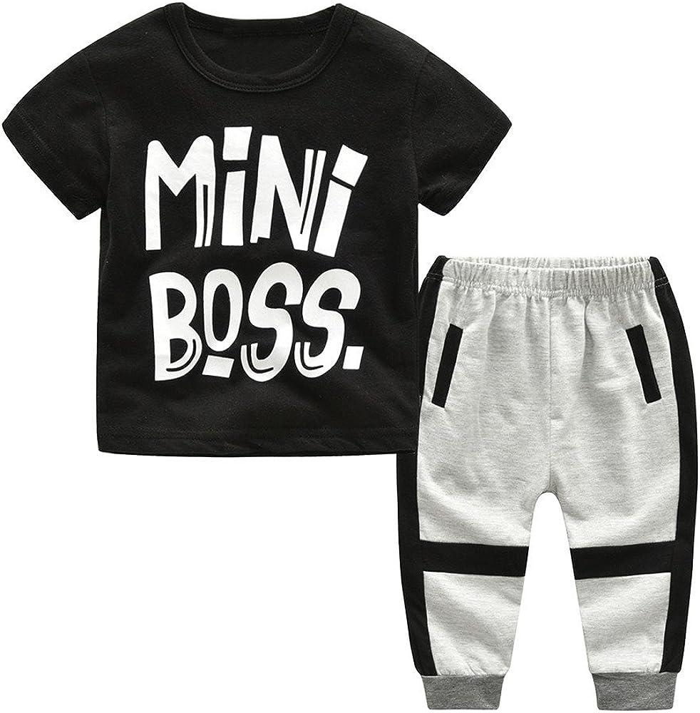 2Piece Toddler Kids Baby Boy Outfits Set,Short Sleeve Letter Mini Boss Print Front T-Shirt Stripe Trousers Pant Clothes Suit