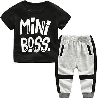6 Jahre Baby Jungen Langarm B/är Muster Tops Pants wuayi Baby Jungen Pyjama Set Nachtw/äsche T-Shirt Kleidung 18 Monate