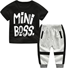 2Piece Toddler Kids Baby Boy Outfits Set,Short Sleeve Letter Mini Boss Print Front T-Shirt Stripe Trousers Pant Clothes Suit