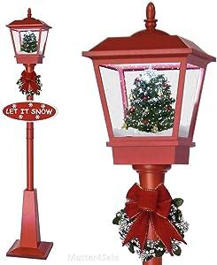 SSITG Farol con decoración de Navidad y extremo nevado, 1,8m, color rojo y negro