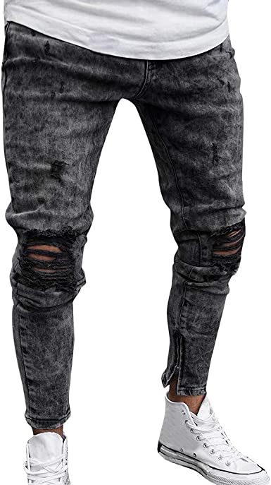 Nrealy Pants Mens Skinny Stretch Denim Pants Distressed Ripped Freyed Slim Fit Jeans Trousers At Amazon Men S Clothing Store