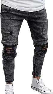 ANJUNIE Mens Skinny Stretch Denim Pants Distressed Ripped Freyed Slim Fit Jeans Trousers