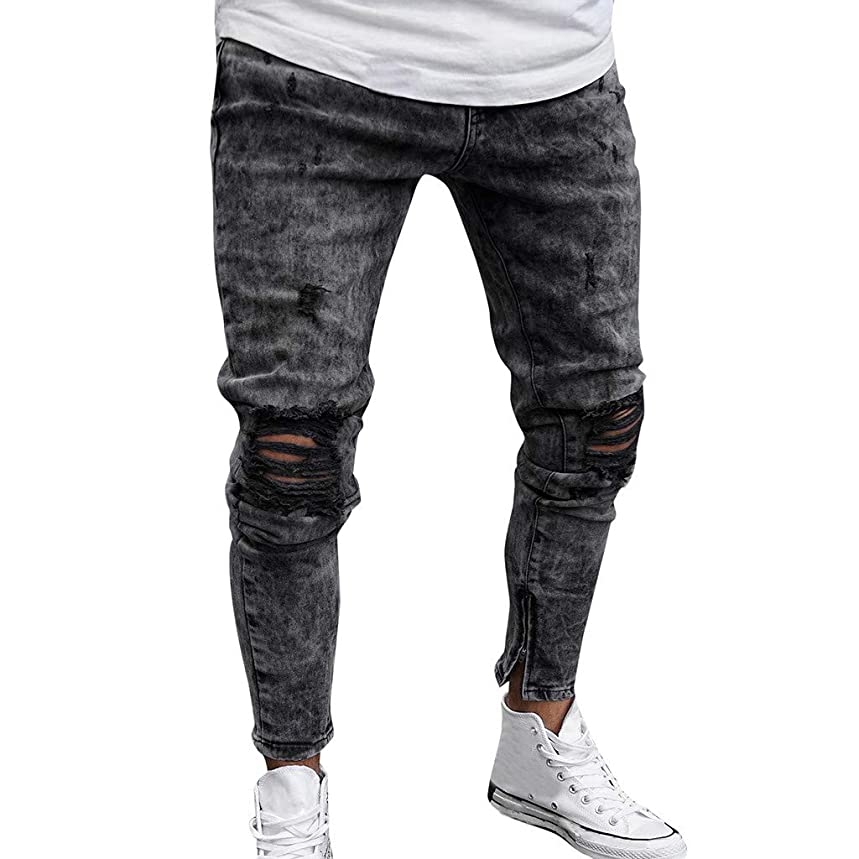 NREALY Pants Mens Skinny Stretch Denim Pants Distressed Ripped Freyed Slim Fit Jeans Trousers