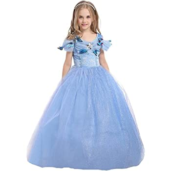 UK Kids Frozen Princess Queen Anna Elsa Cosplay Costume Party Fancy Dress 2-10Y