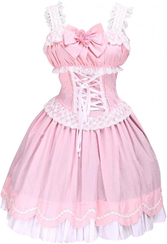 Cemavin Womens Sweet Ruffles Sleeveless Cotton Lolita Dress
