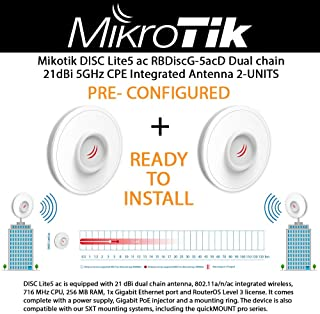 Mikrotik outdoor wireless CPE DISC Lite5 ac 21 dBi dual chain antenna with 5GHz 802.11a/n/ac 716 MHz CPU 256 MB RAM and 1x Gigabit Ethernet port 2-UNITS PRE-CONFIGURED