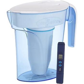Caraffa filtrante con capienza di 1,7 litri, include gratis un misuratore della qualitá dell'acqua, Plastica priva di BpA e certificato per la Riduzione di Piombo e Altri Metalli Pesanti