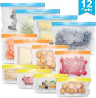 TBTeek Reusable Food Storage Bag, Leak-proof Sandwich Bag, Freezer Bags, Snack Bags for Kids, 12 Packs with 3 Sizes, Transparent, Used for Sandwich, Snacks, Lunches, Meat & Daily Storage