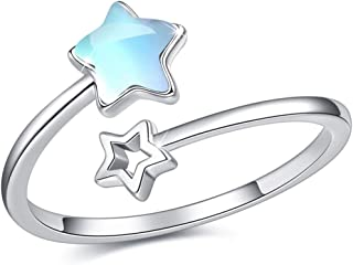 Double Star ring Moonstone Star Ring Crystal Ring Opal Star Ring 925 Sterling Silver Open Ring Adjustable Ring Jewelry Gif...