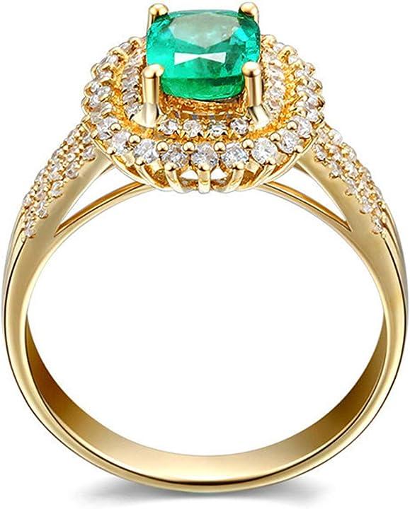 Anello smeraldo lussuoso da fidanzamento o matrimonio - anello in oro giallo DAESARFINEZB6408