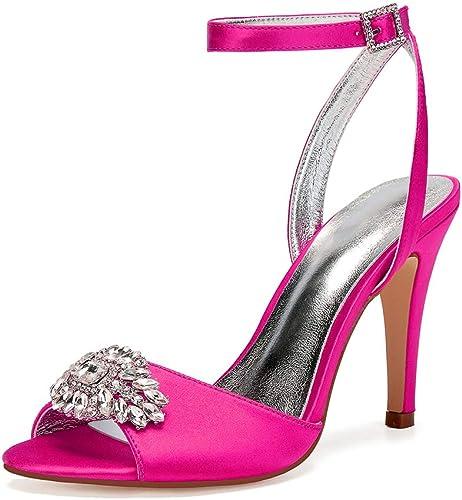 Moojm Sandales pour les femmes, femmes, femmes, cheville sangle sandales satin avec strass 10.5 CM haut talon et boucle mariage fête quotidien 8ec