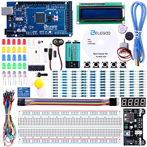 ELEGOO Mega 2560 R3 Project Starter Kit Compatible with Arduino IDE MEGA2560 - Including 16 Tutorials CD