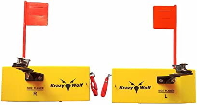 Krazywolf Planer Board (P007,P009),Includes Spring Flag System,Left&Right L8 xW3,L10 Xw3.5,Pair,Yellow
