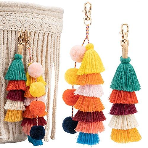 2Pcs Tassels Pom Poms Keychain, Bohemian Handbag Bags Pendant Key Chain Rings