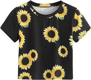 Women's Sunflower Loose Short Sleeve Summer Crop T-Shirt Tops Blouse